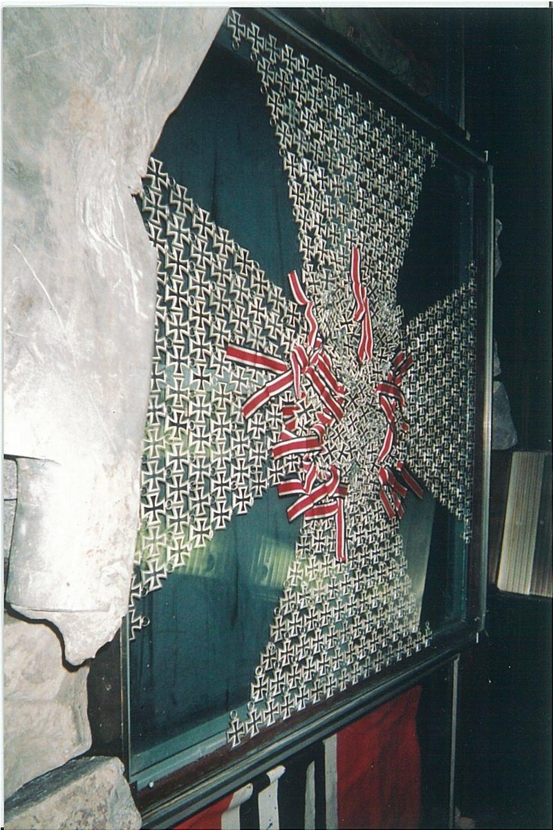 Exhibit of iron crosses at World War II museum in Kiev