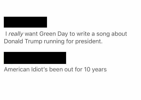 trump american idiot tweet
