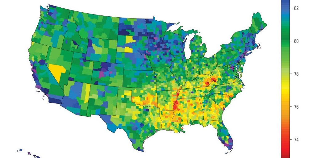life expectancy health map colored