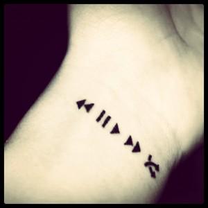 pause tattoo wrist